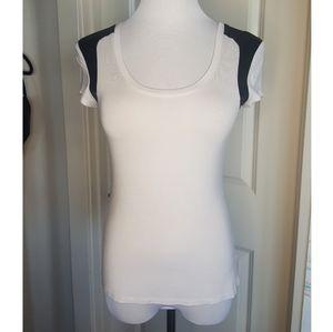 Bebe Vegan Leather Black and White Tshirt